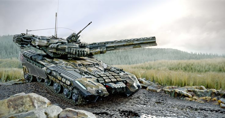 """UMBT-600 """"SOKIRA"""".  The Unmanned Main Battle Tank of ukrainian armed forces in 2073. Armed with low heat 85mm smooth bore railgun main caliber (), automatic 30mm caseless cannon and three 7,62 machineguns. Runs on two 1400hp/1000kW electric engines able to give a 62 ton machine a speed of 95 km/h. Unmanned. AI or remotely controlled by a team of 3. Progressive Protected Protocols (3P) allow to avoid channel jamming as well as visual detection via heat or radio signal. Avai..."""