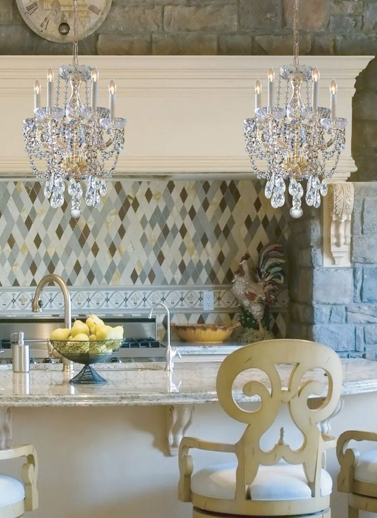 Love the harlequin pattern in the backsplash, bar stools, and chandeliers: Kitchens Design, Minis Chandeliers, Fancy Kitchens, Back Splash, Kitchens Tile, Rustic Kitchens, Kitchens Chandeliers, Harlequin Patterns, Bar Stools