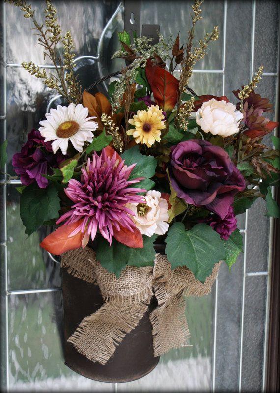 Purple Floral Door Bucket/Wreath by SilverLeafGifts on Etsy $48.00 & 17 best Door buckets images on Pinterest | Bucket Buckets and Blessings