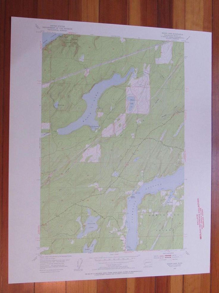 Map Of Oregon Breweries%0A Mason Lake Washington      Original Vintage USGS Topo Map