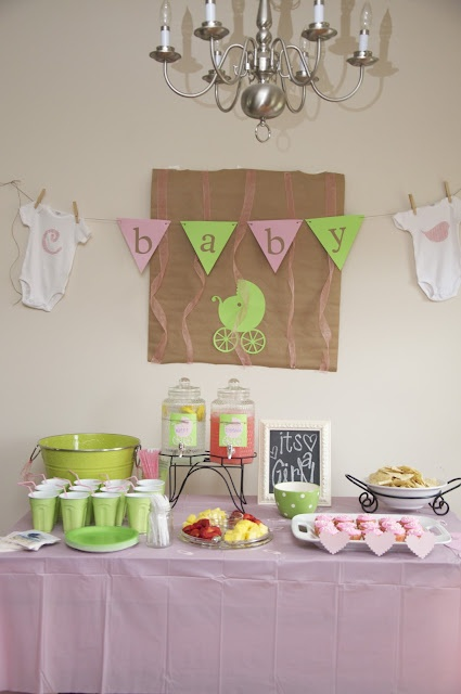 baby shower decorationsShower Ideas, Baby Girls Shower, Green Baby Shower, Baby Shower Decorations, Spare Time, Food Tables, Baby Banners, Pink, Baby Shower