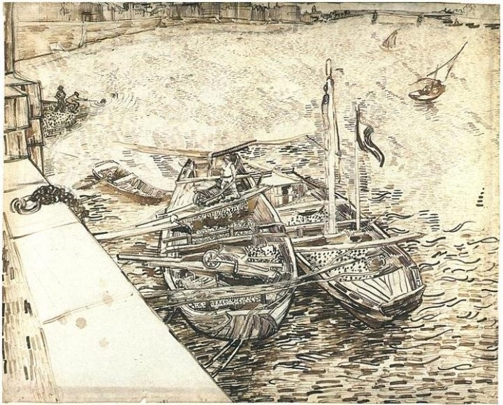 Van Gogh, River barges on the Rhône