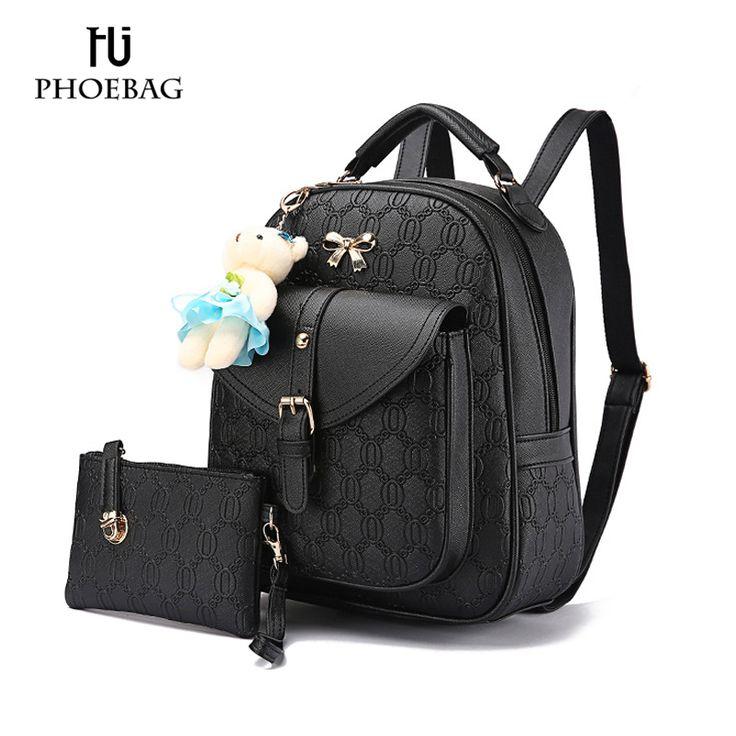 HJPHOEBAG NEW Fashion Designed Brand Backpack Women Backpack pu Leather School Bag Little bear pendBackpacks + Small bags XB-K51