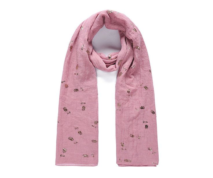 Pink floral foil print scarf
