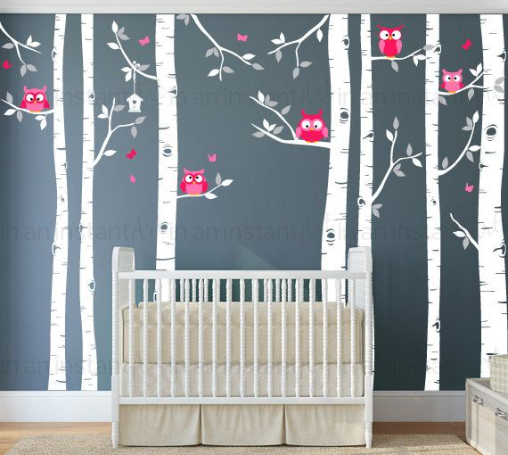 """Our Birch Tree and Owl Wall Decal is perfect for a Woodland nursery theme. The set brings nature in with seven Trees, 5 Owls, a Birdhouse, custom colors and easy application. Other sellers have tried to copy this item, please support the original artists: In An Instant Art.  { APPROX. SIZES }  Trunks are 101 or 108 Tall  The trees can be trimmed for walls that are shorter during application. For taller trees, please message us for pricing. Owls are 6-9"""" tall / Birdhouse is 13.5"""" tall  Whats…"""
