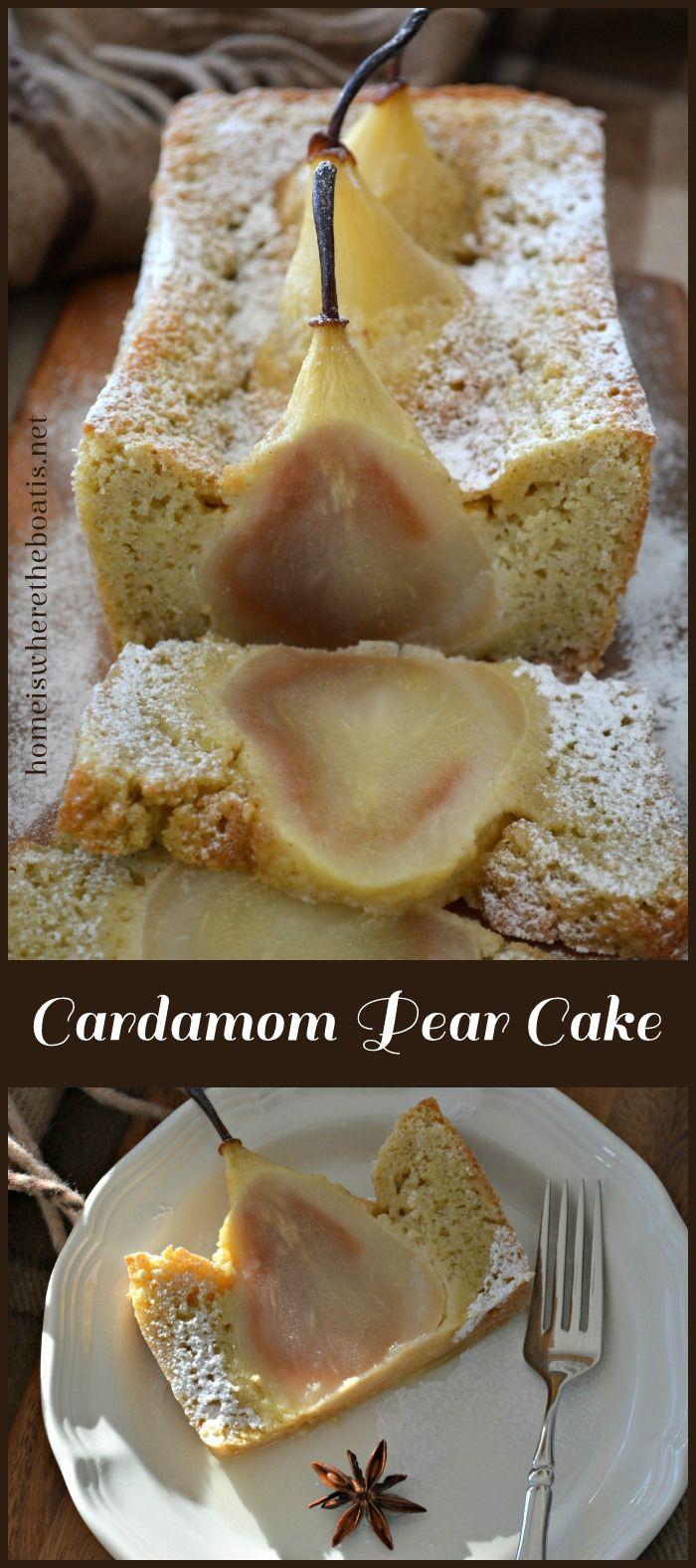 Cardamom Cake with Whole Pears #cake