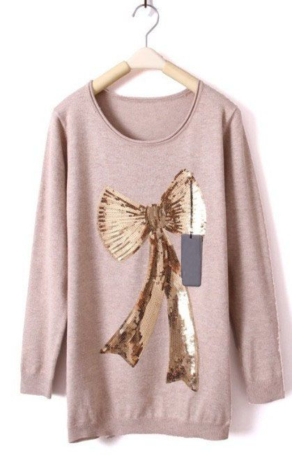 bow print sequined sweater.. love the soft shade