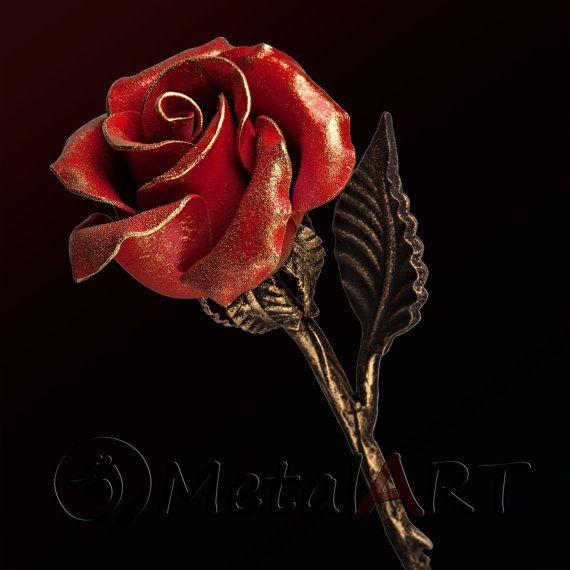 Steel Rose - Iron Anniversary gift/ 11th Anniversary/ Eleventh Anniversary/ 6th Anniversary Gift/ 4th Anniversary/ Metal Sculpture Flower