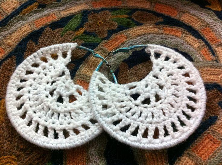 Diy white crochet earrings