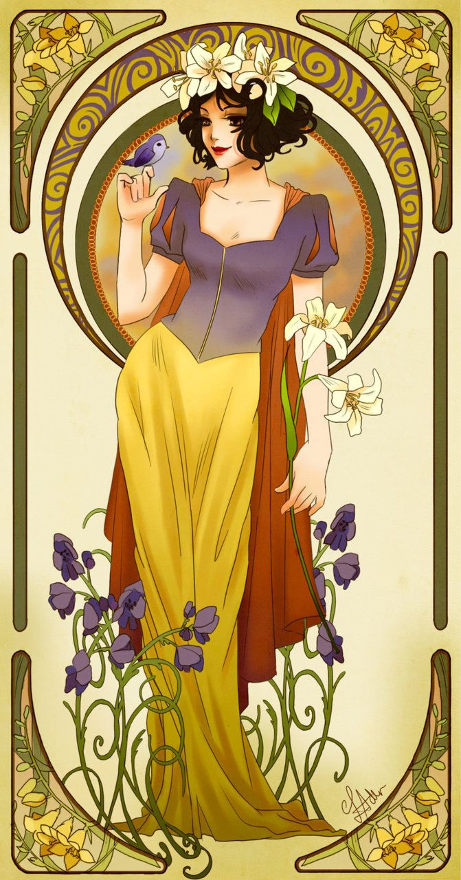 Stellar Four: Art Nouveau Disney Princesses snow white