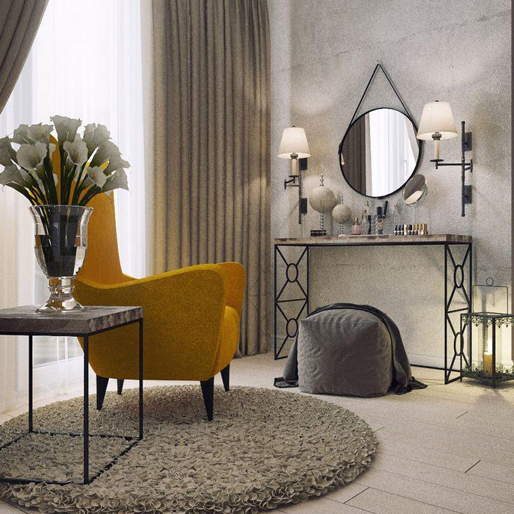Спальня выглядит  аскетично и шикарно одновременно - огромные торшеры, металлическая прозрачная мебель Gulfstream, тяжелый мягкий текстиль, яркое большое кресло -  все это на фоне пустых бетонных стен проявляется особенно контрастно.