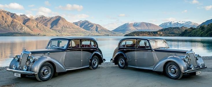 Vintage pair of Daimler wedding cars  in Queenstown, New Zealand. We offer wedding and tour transportation! www.classiccarjourneys.co.nz Image by Rich Bayley Photography
