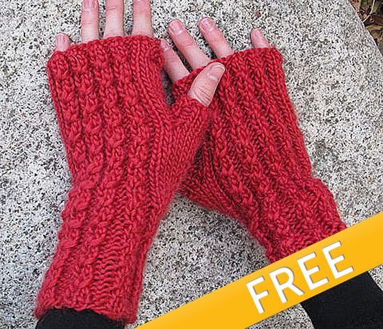 Knit Red Cable Mitts