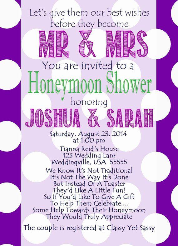 Honeymoon Shower Invite Poke a Dot by ClassyYetSassyInvite on Etsy
