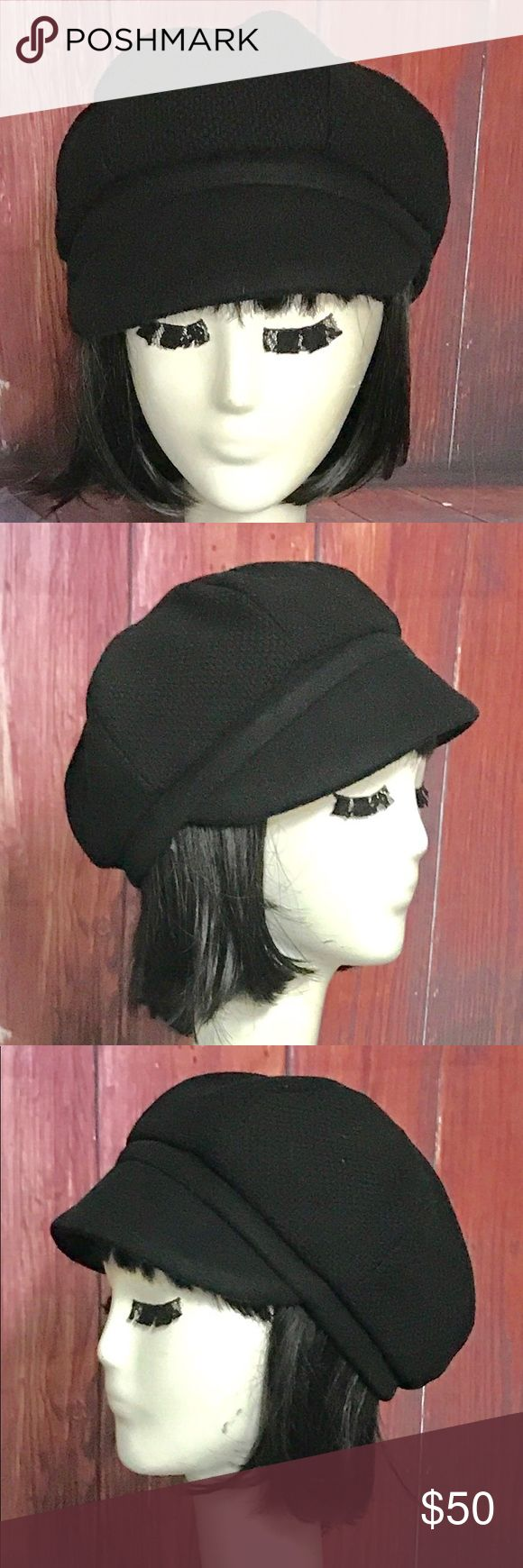 """Black Wool Newsboy Hat Newsboy Hat. 6 sided panel vintage wool tweed top with a solid  wool 1"""" band with 2 1/2"""" brim. Lined in a black cotton print and 1"""" cotton band.  All of Bella Starr hats are made using the finest fabrics. They are all Handmade in the USA. Bella Starr Accessories Hats"""