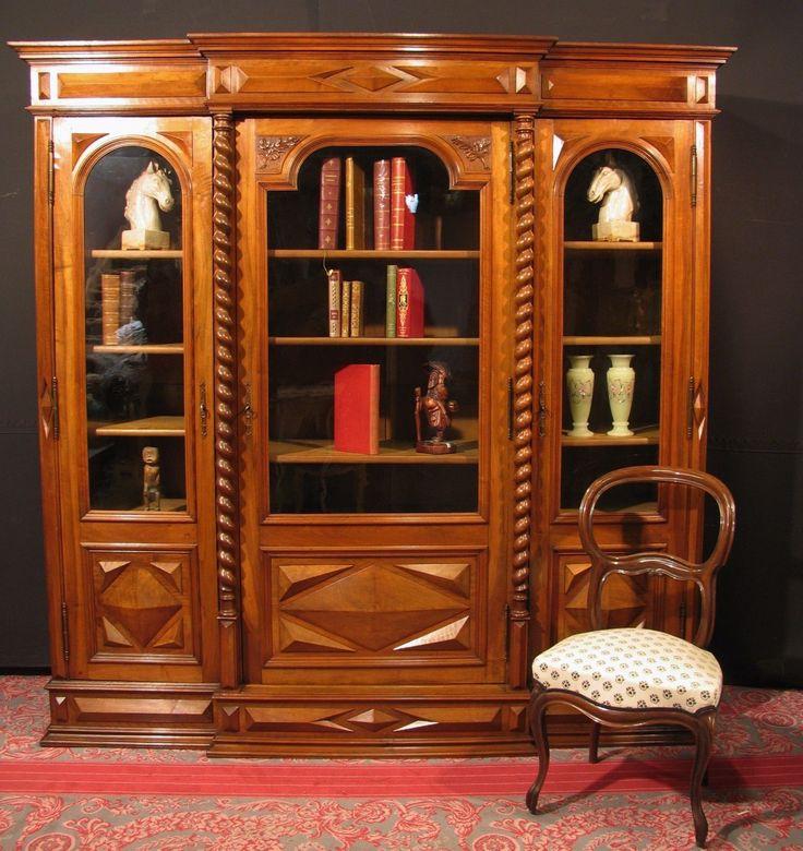 Ancienne biblioth que louis xiii noyer vitrine meuble for Meuble bonnetiere ancienne