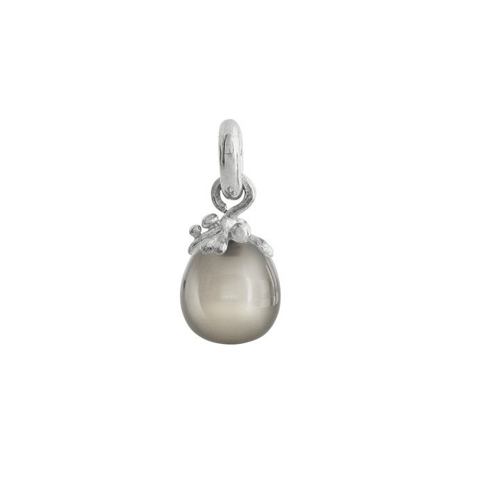 Sweet Drops charm in 18K white gold with grey moonstone - Charms | OLE LYNGGAARD COPENHAGEN
