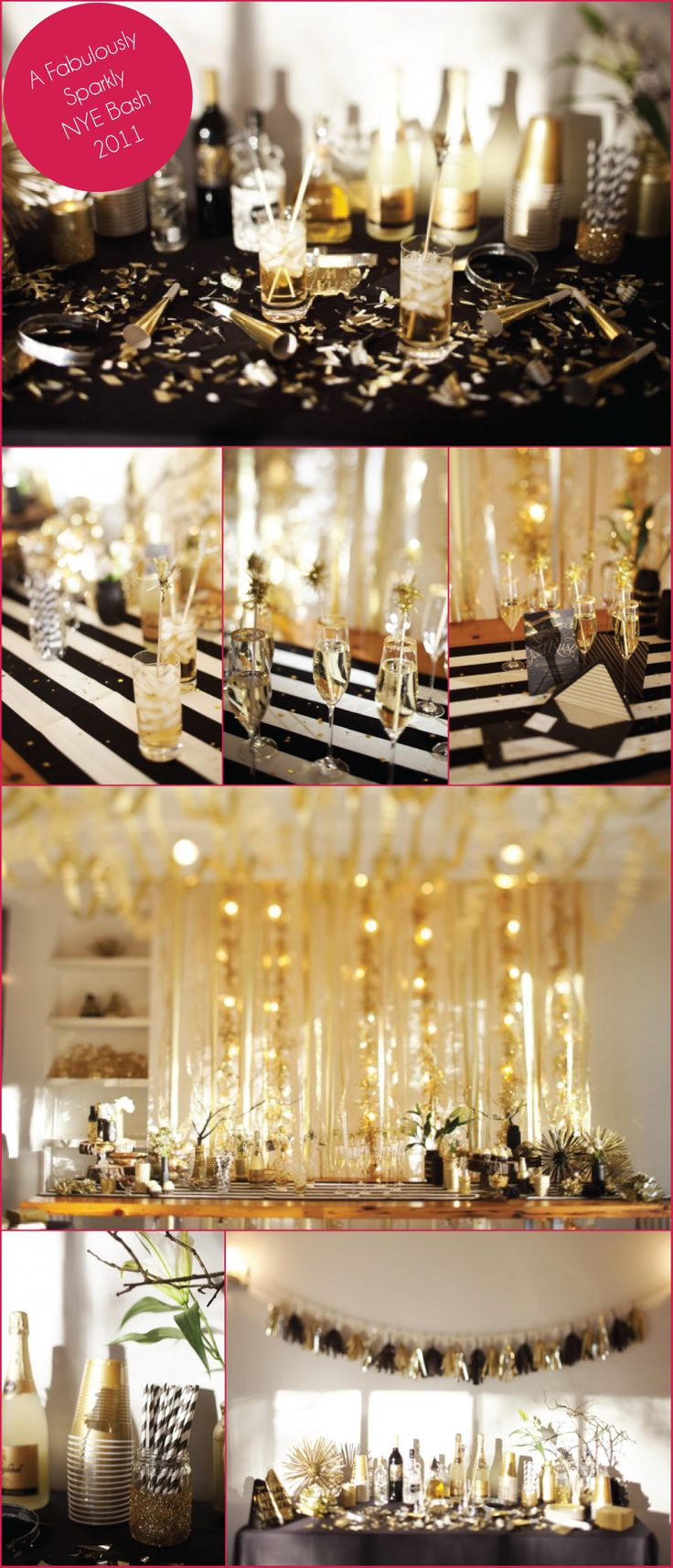 Amazing Black and Gold New Year Bash... love the color scheme for any party: Gold Color Schemes, Black And Gold Birthday Party, Black White Gold 30 Bash, Black Gold Stremmer, Black Gold Party, Black And Gold New Years, Birthday Black White Gold, Amazing Black, 30Th Birthday Black And Gold