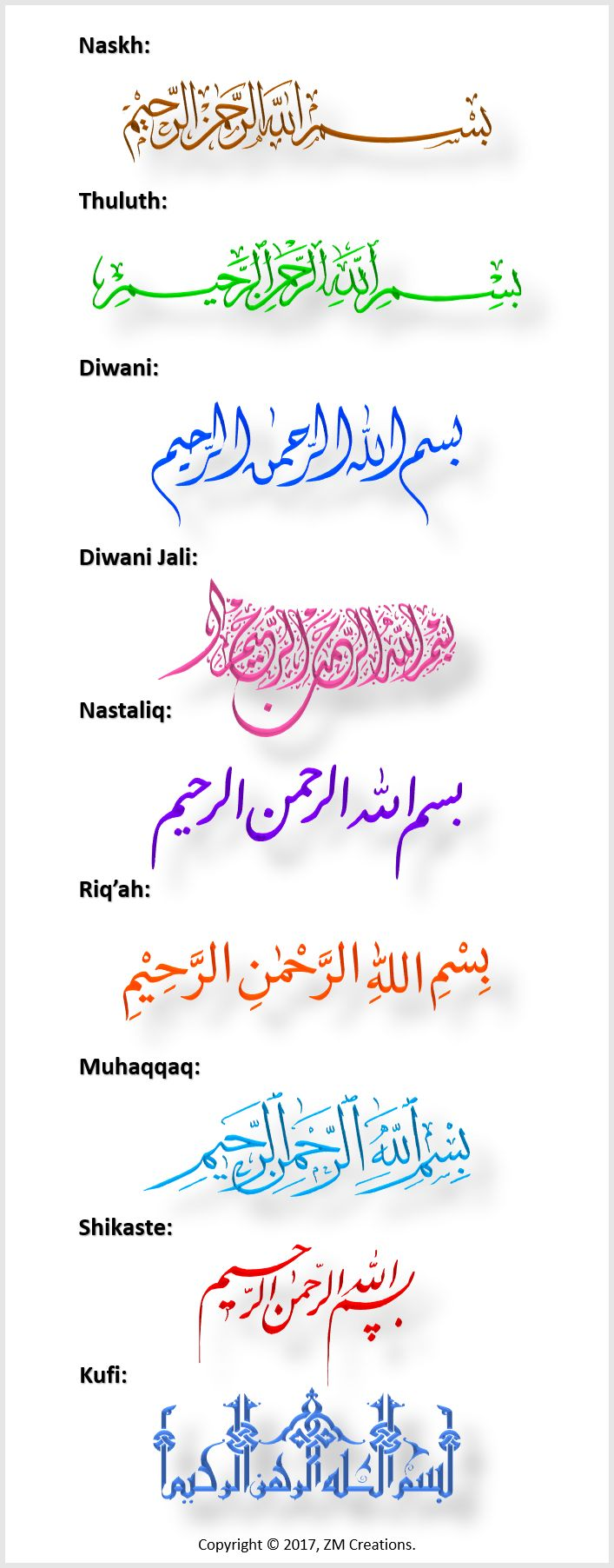 Arabic Calligraphy Scripts – Islamic Graphics