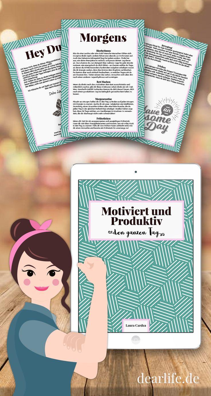 Motivation und Organisation den ganzen Tag - geht das? In meinem kostenlosen E-Book erkläre ich dir, wie du das beste aus deinem Tag herausholst - ganz auf dich abgestimmt! #motivation #organisation #ebook #freebie #morgenroutine #produktiv #inspiration #motiviert #organisiert #bulletjournal #thisgirlcan #printables #produktivität #habittracker #tipps #tricks #morgenmensch #biorhythmus #selfimprovement
