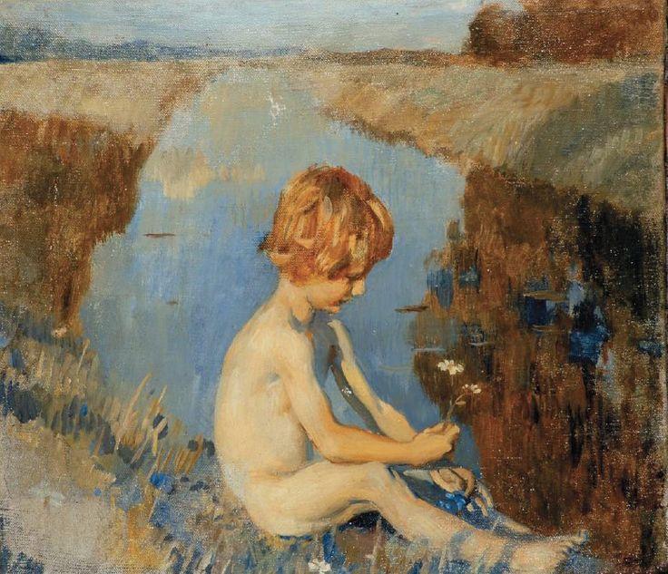 Ettore Tito - Bambino sul canale con margherita