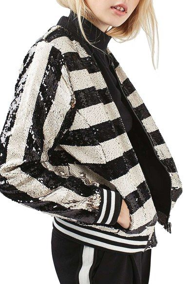 Topshop Stripe Sequin Bomber Jacket available at #Nordstrom