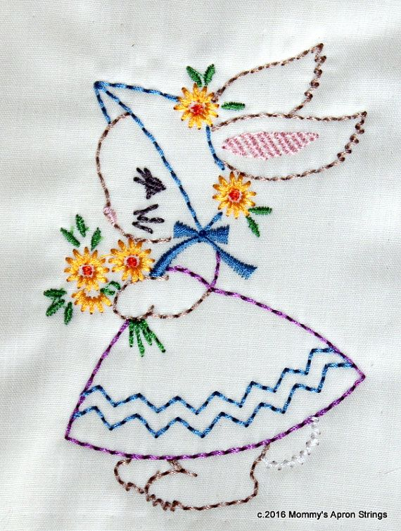 Girl Bunny Baby Kids Easter Machine Embroidery Design