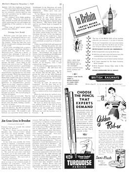 """51  """"Jim Crow Lives in Dresden""""  Sidney Katz. Maclean's (Canada), Nov. 1, 1949  pages 8-9, 51-52.   Subtitle: """"Uncle Tom sleeps uneasily in Ontario's Dresden where all men are not born equal, where his descendants can't get a store haircut, a permanent wave, or a restaurant meal."""""""