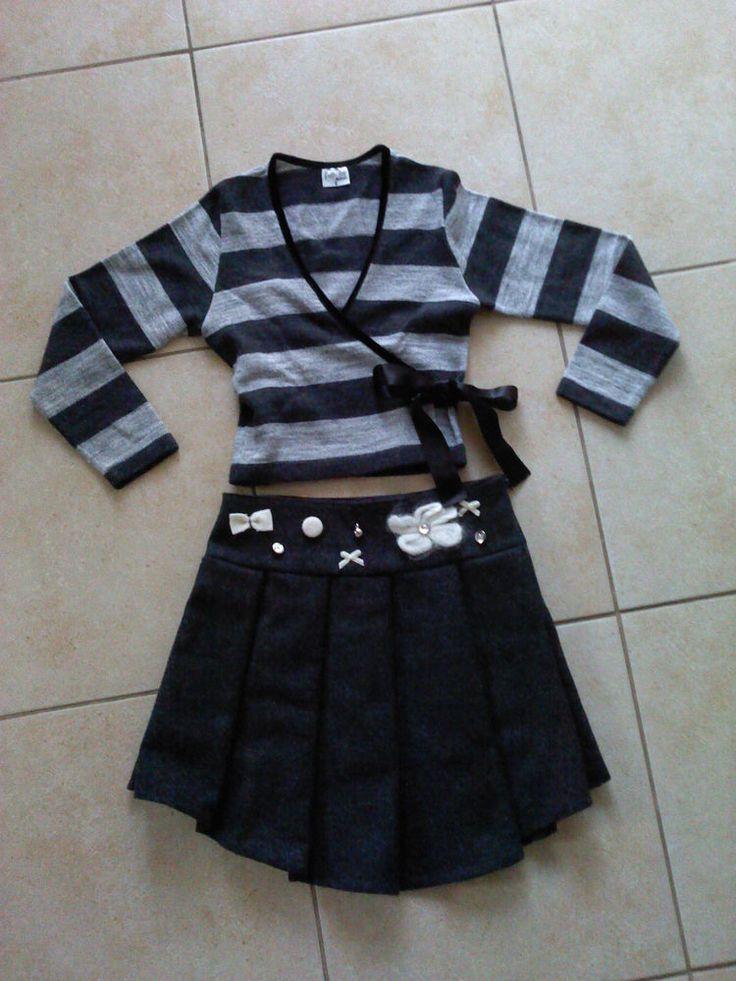 FRATTINA Balloon Girls Dressy Holiday Outfit Black/Gray Cardigan Skirt 5/6 Lapin  | eBay