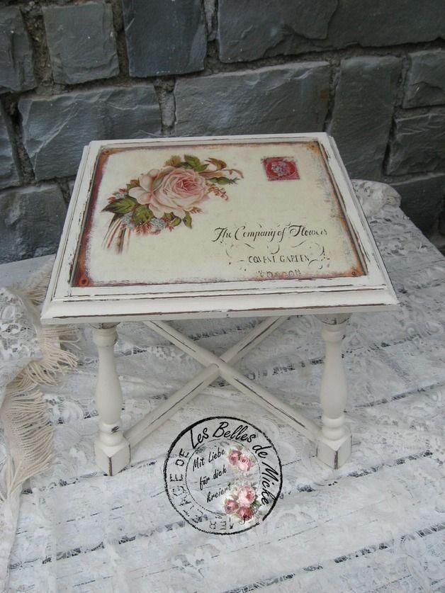 Shabby  Beistelltisch - Hocker  mit Rosenplatte
