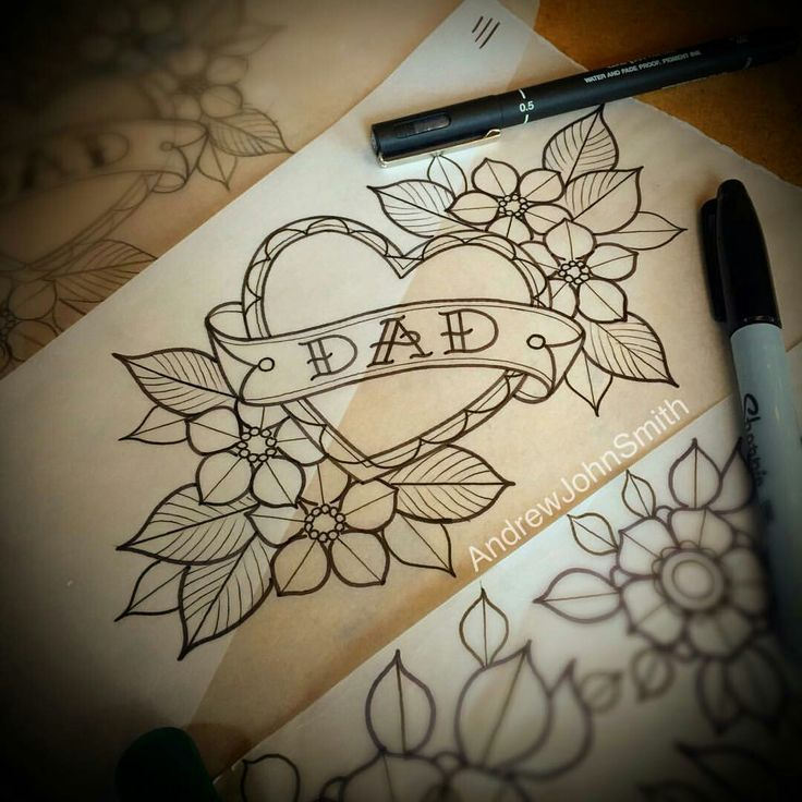 Old school dad heart flower tattoo line drawing flash