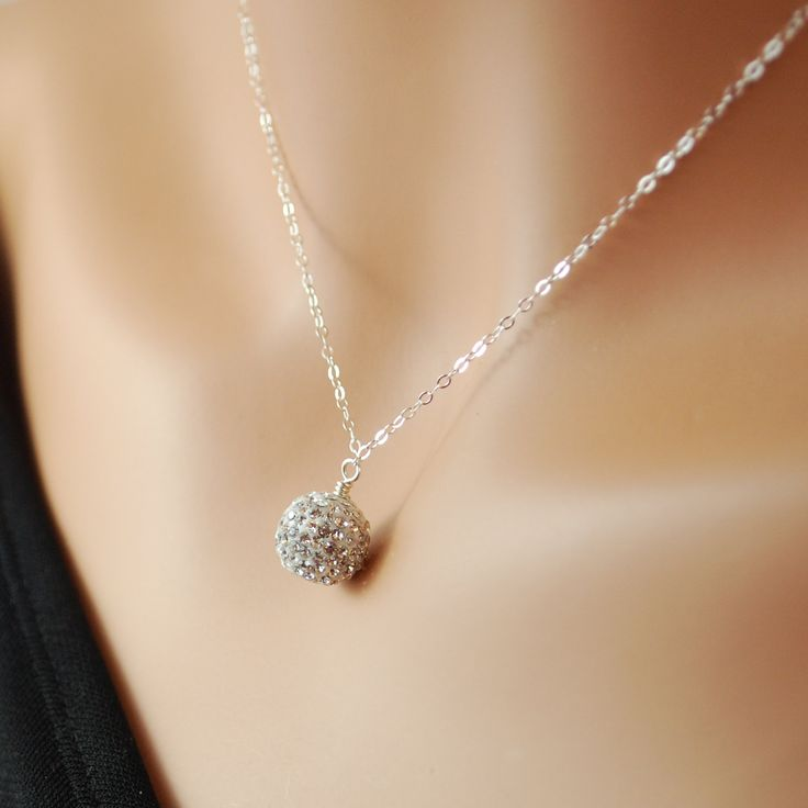 Pave Crystal Necklace Encrusted Sparkly Ball Bead Sterling Silver Wire Wrapped Festive New Year Jewelry Complimentary Shipping. $48.00, via Etsy.