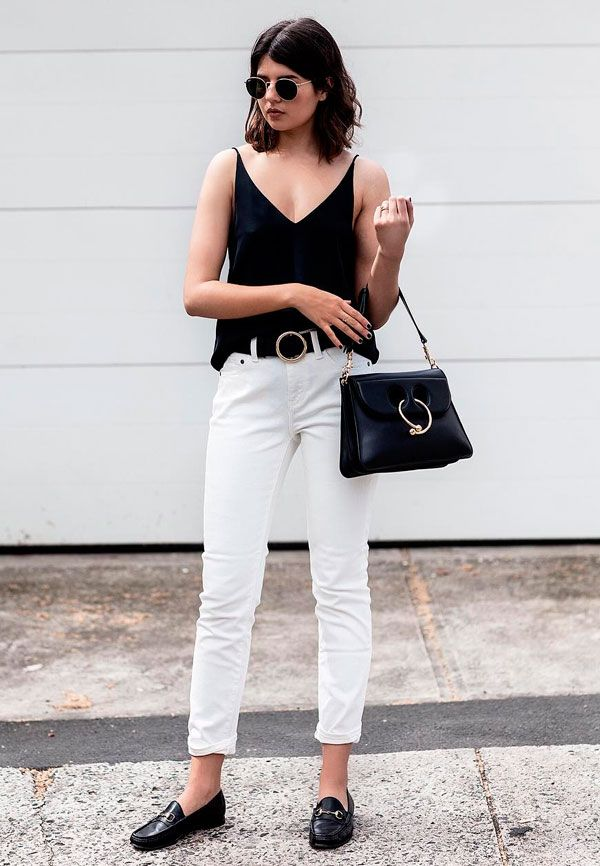 Minimal yet Chic. Silk Cami Top with White Denim. Similar Style Available at SiiZU