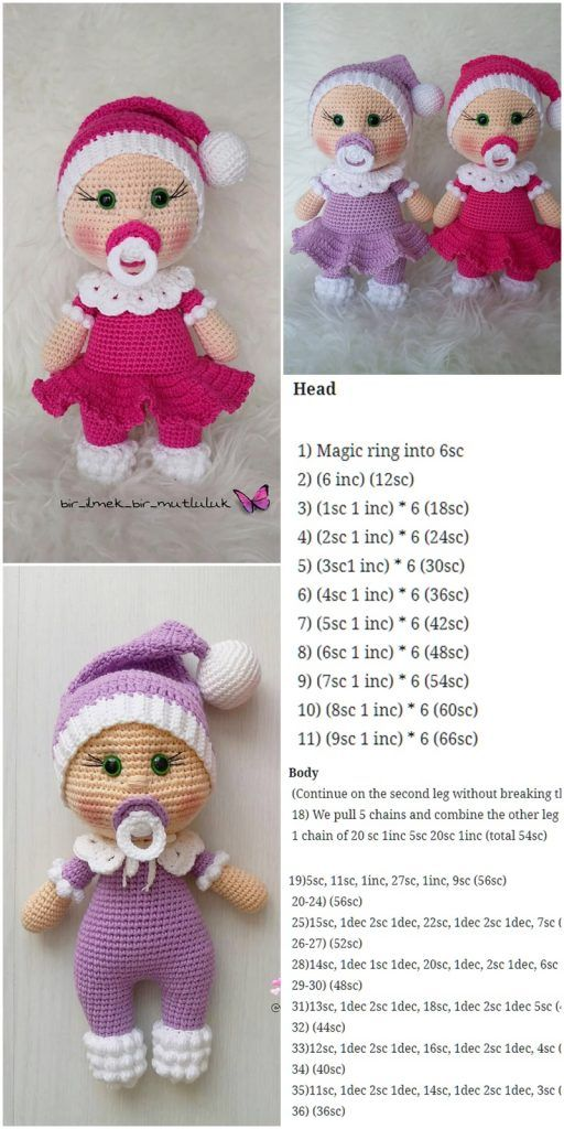 Amigurumi Puppe Schnuller Baby Kostenlose Häkelanleitung – Crochet.msa.plus   – Amigurumi Doll