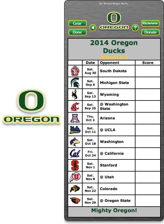 Free 2014 Oregon Ducks Football Schedule Widget for Mac OS X - Mighty Oregon! - http://riowww.com/teamPages/Oregon_Ducks.htm