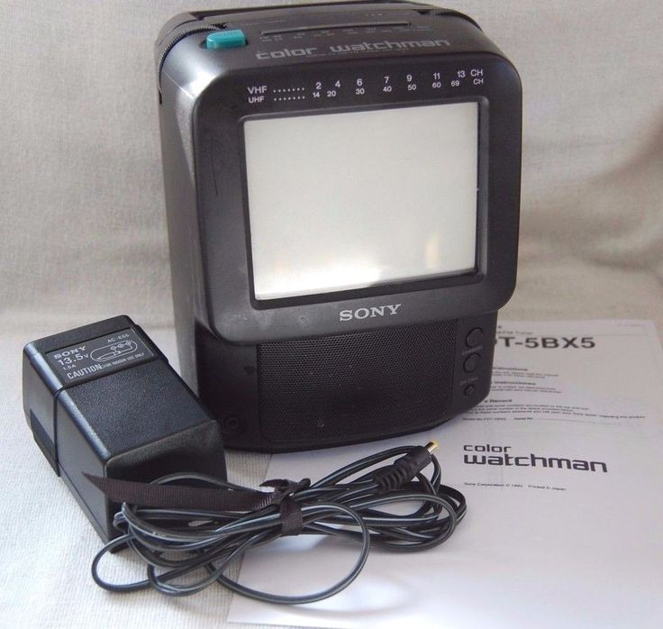 Sony Watchman Color TV AM/FM Tuner FDT-5BX5 television black case WORKING #Sony