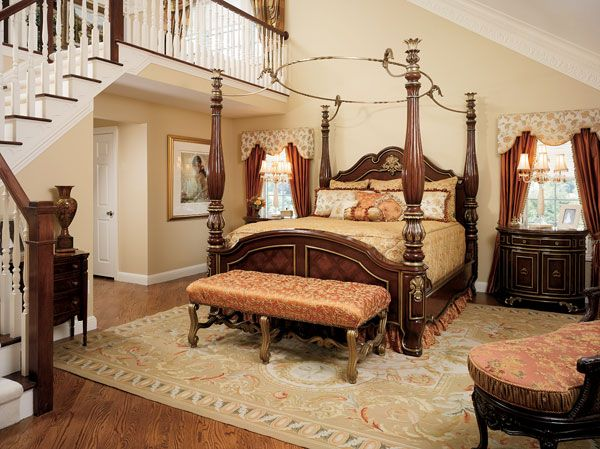 pillows rests on the regal four poster bed in the master bedroom  An  angled stairway leads to an open studio where the wife can wrap gifts. 742 best Interior Design  Old World Traditional Tuscan Bedrooms