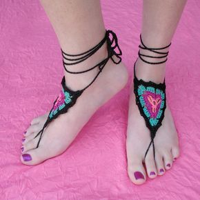 what about a beaded design tied on like this, must share with Lori for belly dance Gypsy Barefoot Sandals by Gleeful Things, via Flickr