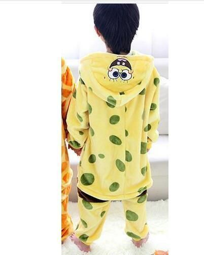 Spongebob Onesie Pajamas Kids Anime Cosplay Costumes Giraffe Jumpsuit Pyjamas Flannel Children Sleepwear HomewearLTSY-18