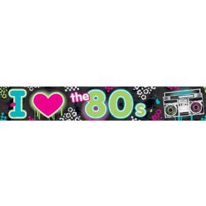 This Foil Banner is guaranteed to be a hit at your 80's themed party. The banner has says I heart the 80's on it and repeats 10 times within the 25 foot banner. It has lots of fun colors like green, b