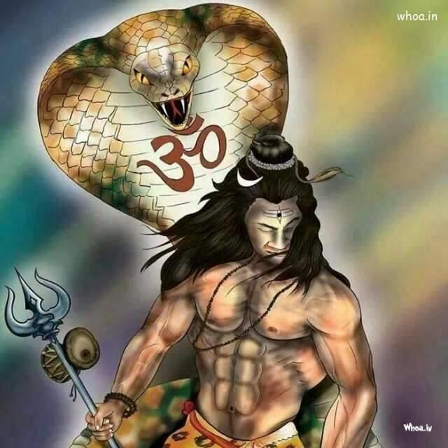 Lord Shiva With Snack HD Painting Images