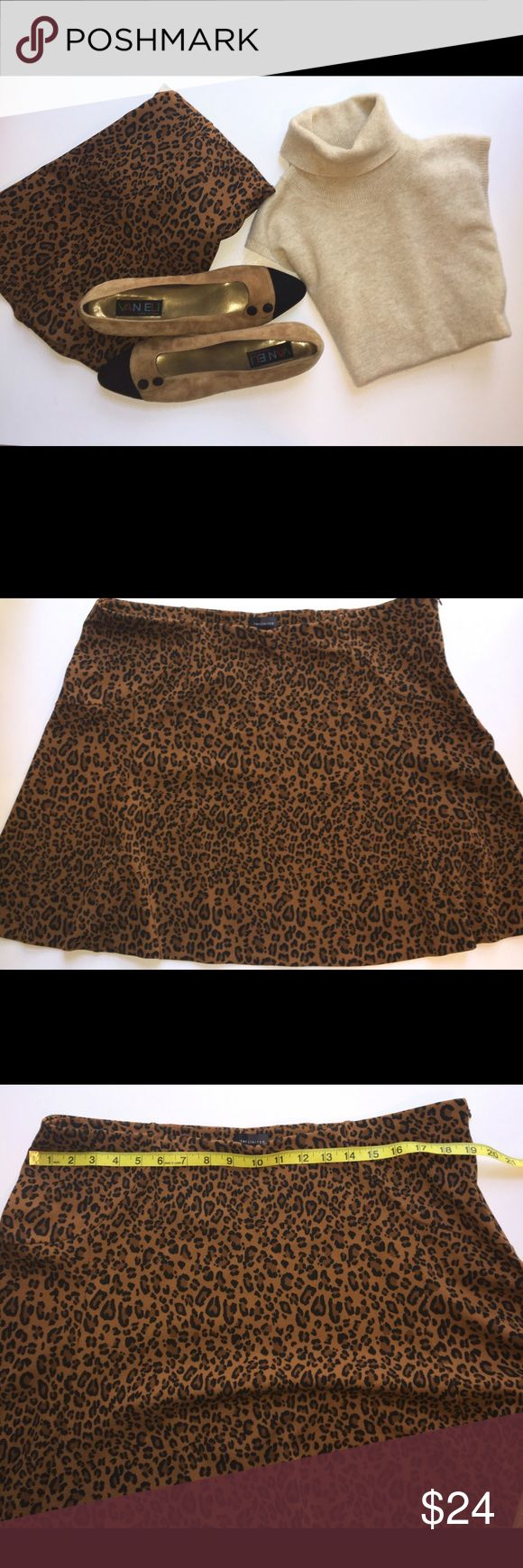 "Limited Leopard Skater 18.5"" Skater Skirt EUC Limited XL skater skirt is versatility defined! Pair with tights and boots for work or sandals and a tee for the weekend. Either way, you'll be perfectly fashionable in this 18.5"" long skirt. No material tag, but it does contain spandex or polyester for stretch and weight, so it will not fly up. PIctures show measurements. Worn once by me - purchased from The Limited. The Limited Skirts"