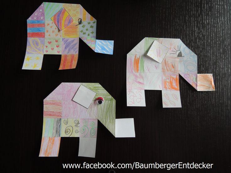 Elefanten, malen, schneiden, knicken www.facebook.com ...