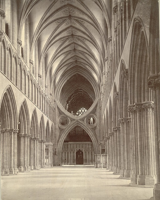 Scissor Arches, Wells Cathedral, UK....photo taken c.1875
