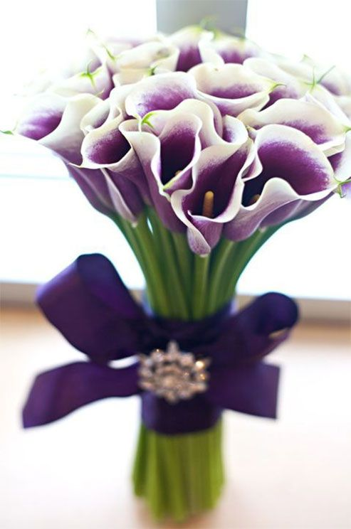 White and purple calla lilies create a chic arrangement when tied by purple ribbon and pinned with a rhinestone brooch.