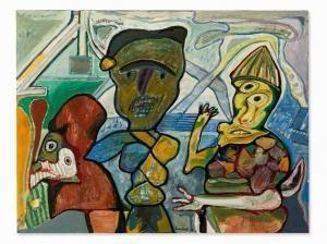 """Lucebert/""""de theetuin"""",oil painting, 100x139 cm (1973)"""