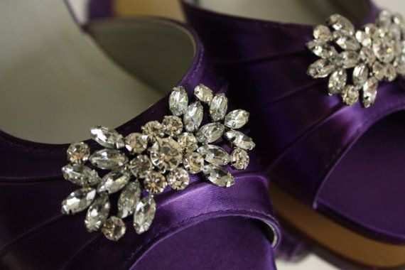 Bespoke Wedding Shoes - Custom Wedding Shoes - Dyeable Wedding Shoes - Crystals - Choose From Over 100 Colors - Purple  - Choose Heel Size