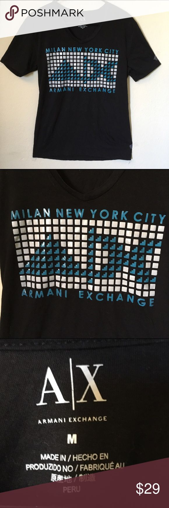Armani Exchange t shirt Black with blue and white detailing.  In excellent condition with no flaws or damage A/X Armani Exchange Shirts Tees - Short Sleeve