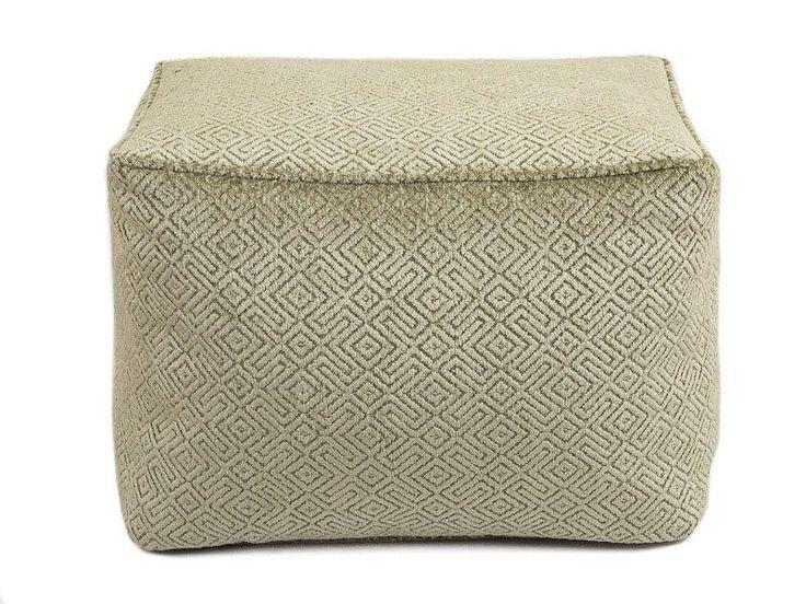 Dark Beige Plush Sculpted Geometric Chenille Bean Bag Footstool