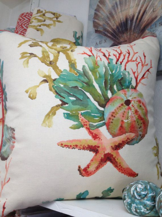 Tropical Watercolor Pillow on Etsy {i so love this. would like nice on the leather couch, no? @Cynthia Avalos?}